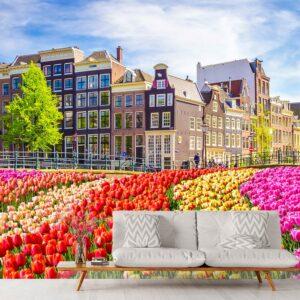 woonkamer tulpen amsterdam behang