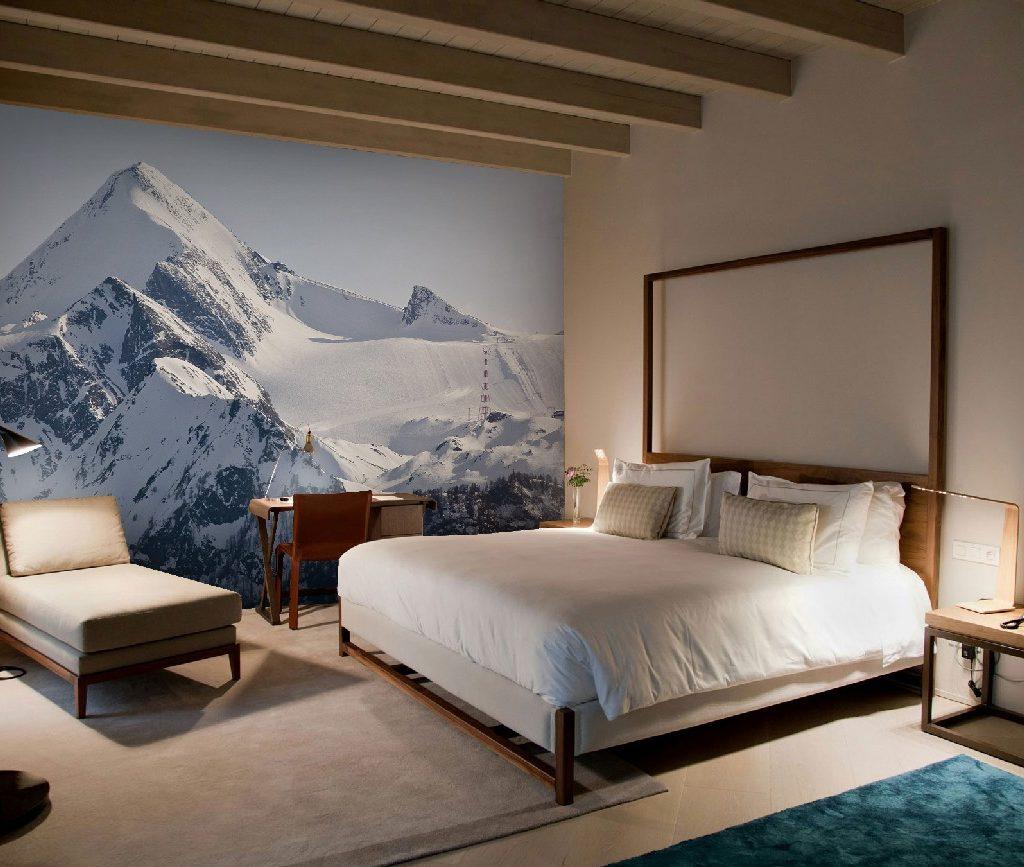 fotobehang bergen geeft rust in je slaapkamer