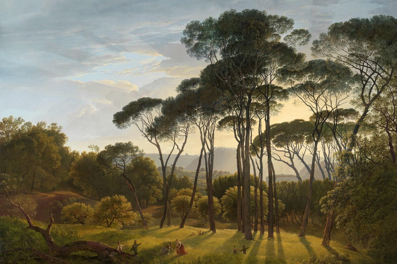 fotobehang keuken italiaans landschap met parasoldennen hendrik voogd 1807