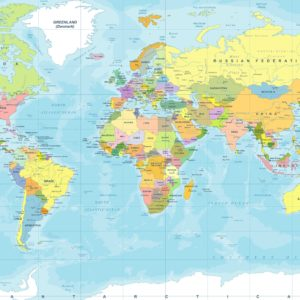 kleurrijk fotobehang wereldkaart op maat