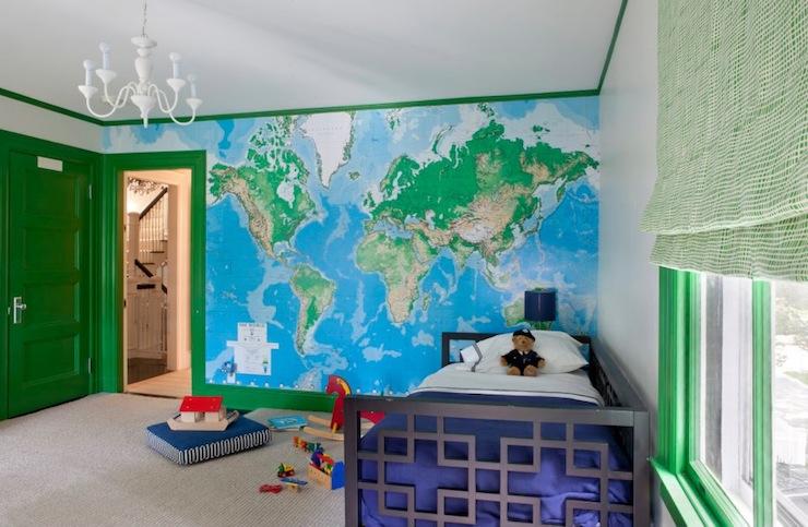 wereldkaart kinderkamer fotobehang