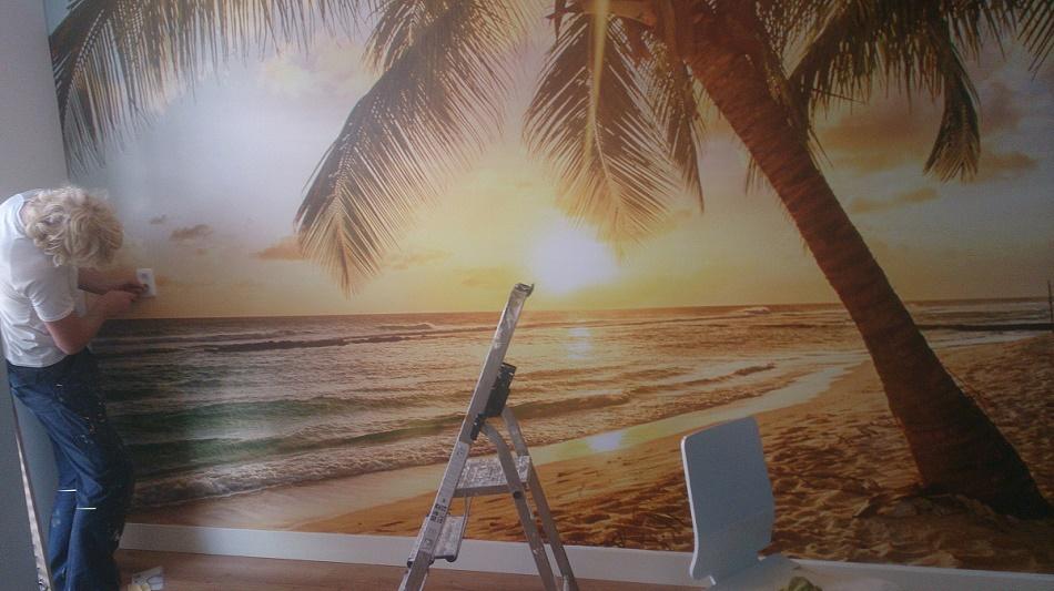 montage fotobehang slaapkamer palmbomen