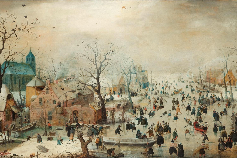 Winterlandschap met schaatsers