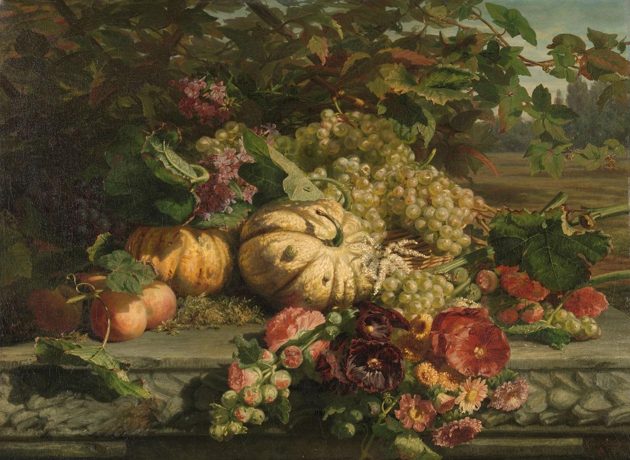 Stilleven met bloemen en vruchten, Gerardina Jacoba van de Sande Bakhuyzen, 1869