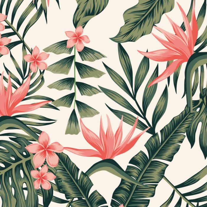 bloemen natuur print met leaves fotobehang