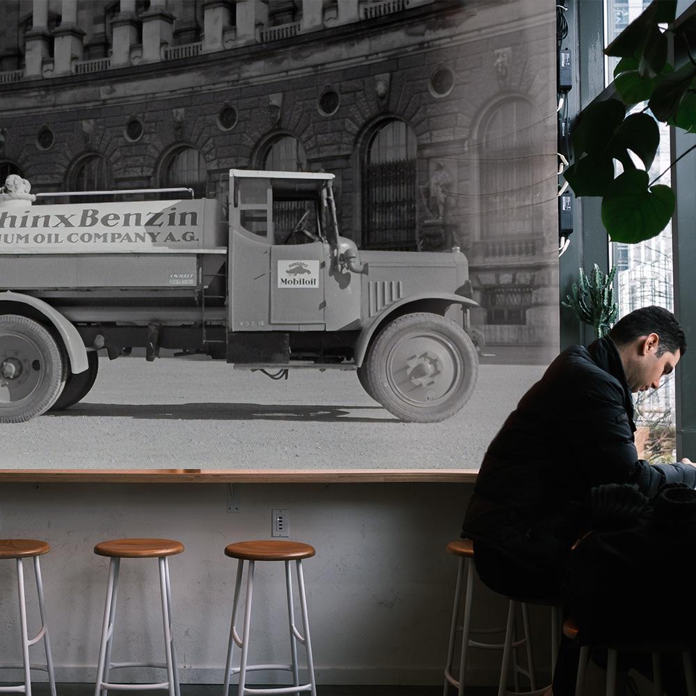 horeca behang vrachtwagen koffiebar