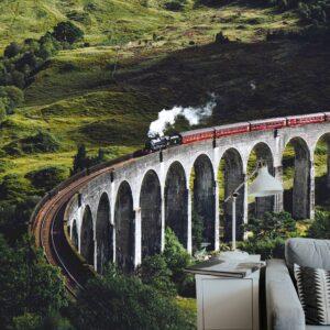 treinen woonkamer behang inspiratie