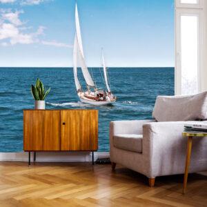 zeilboot zee fotobehang woonkamer