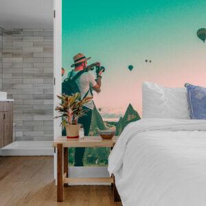 badkamer slaapkamer luchtballonnen behang inspiratie