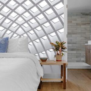 slaapkamer geometrisch behang