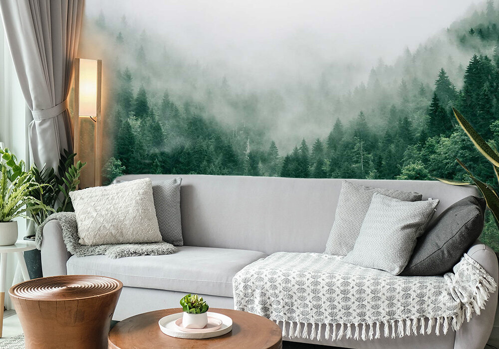 Woonkamer bos voor eigen foto op behang