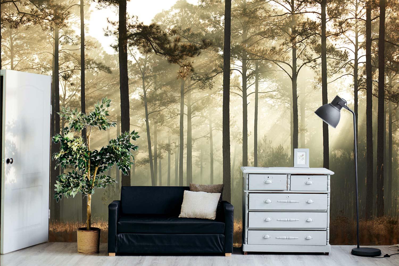woonkamer hoog plafond bos