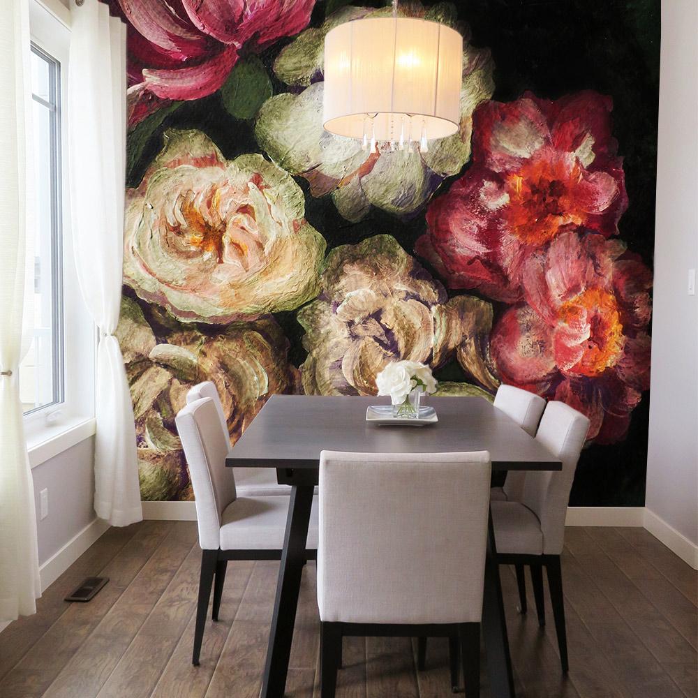 thema inspiratie bloemen behang eetkamer fotobehang